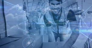 Entrega do pacote da composição do armazém combinada com a conexão animado vídeos de arquivo