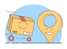 Entrega do presente, caixa embalada e símbolo do geolocation ilustração royalty free