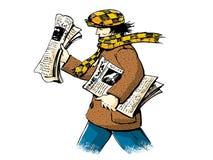 Entrega dos jornais ilustração do vetor
