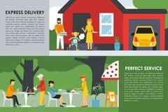 A entrega expressa e a Web perfeita do conceito do plano de serviço vector a ilustração Povos, entregador, carro Restaurantes da  Fotografia de Stock