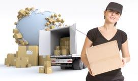 Entrega fêmea do correio Fotografia de Stock
