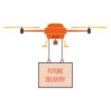 Entrega futura con el quadrocopter rojo y amarillo Imagen de archivo libre de regalías
