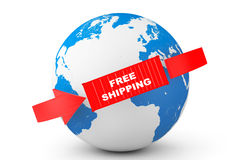 Entrega global Contentor livre com globo da terra Foto de Stock Royalty Free