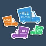 Entrega libre, iconos rápidos de la entrega fijados Vector Imagen de archivo