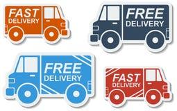 Entrega libre, iconos rápidos de la entrega fijados. Vector. Foto de archivo libre de regalías