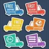 Entrega libre, iconos rápidos de la entrega fijados Vector Fotos de archivo