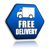 A entrega livre e o caminhão assinam dentro o botão azul Fotografia de Stock Royalty Free
