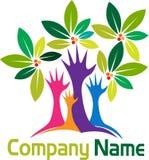 Entrega o logotipo da árvore ilustração stock
