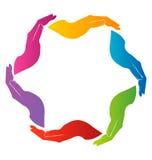 Entrega o logotipo dos trabalhos de equipa ilustração do vetor
