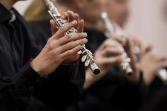Entrega o músico que joga a flauta imagens de stock royalty free