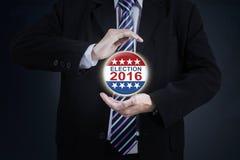 Entrega o símbolo 2016 de proteção da eleição Fotografia de Stock Royalty Free