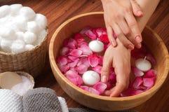 Entrega os termas, as mãos da mulher bonita na bacia de água Fotografia de Stock Royalty Free
