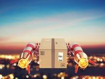 Entrega rápida del paquete por el cohete de turbo representación 3d Foto de archivo