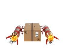 Entrega rápida del paquete por el cohete de turbo representación 3d Foto de archivo libre de regalías