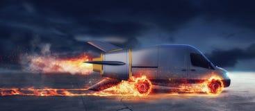 Entrega rápida estupenda del servicio del paquete con la furgoneta como un cohete con las ruedas en el fuego stock de ilustración