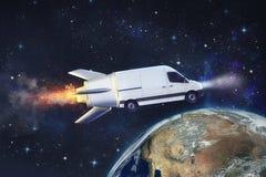 Entrega rápida estupenda del servicio del paquete con la furgoneta del vuelo como un cohete Tierra proporcionada por la NASA stock de ilustración