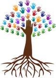 Entrega a raiz da árvore ilustração stock