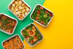 Entrega saudável das refeições Comendo o conceito direito, copie o espaço, vista superior imagens de stock