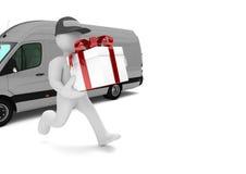 Entrega Van do presente do manequim Fotografia de Stock