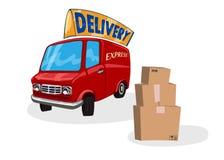 Entrega Van dos desenhos animados Conceito rápido do transporte Entregando serviços expresse o caminhão Ilustração do vetor no br Imagem de Stock