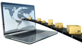 Entregando pacotes através de uma tela do portátil ilustração 3D Fotos de Stock