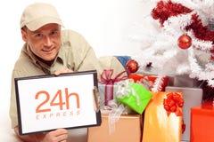 24 entregas expressas da hora, mesmo no Natal Fotos de Stock