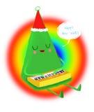 Entregue a árvore de Natal tirada dos desenhos animados da aquarela, isolada no fundo branco Imagens de Stock