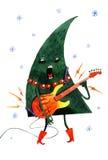 Entregue a árvore de Natal tirada dos desenhos animados da aquarela, isolada no fundo branco Imagem de Stock