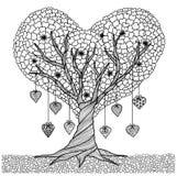 Entregue a árvore tirada da forma do coração para o livro para colorir para o adulto