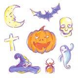 Entregue ícones desenhados de Halloween Imagens de Stock