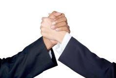 Entregue a agitação entre um homem de negócios e uma mulher de negócios isolados Imagens de Stock