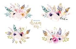 Entregue a aquarela isolada desenho a ilustração floral com folhas, ramos, flores e penas arte do Watercolour do índigo ilustração royalty free