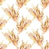 Entregue a aquarela tirada o teste padr?o repetido sem emenda com as orelhas do trigo do amarelo do outono spikelets da ilustra?? ilustração do vetor