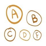 Entregue as categorias tiradas do vetor, grupo de letras tiradas mão do ouro, ilustração da garatuja do ouro Imagens de Stock