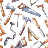 Entregue as ferramentas, teste padrão sem emenda do reparador no branco ilustração royalty free