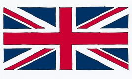 entregue a bandeira tirada do Reino Unido (Reino Unido) aka Union Jack ilustração royalty free