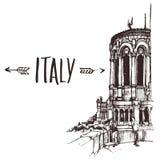 Entregue a basílica tirada, basílica menor no esboço urbano de Lyon Ilustração de livro desenhado à mão, cartão turístico ou cart Fotos de Stock Royalty Free