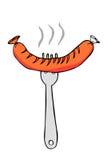 Entregue a beira do esboço da tração, salsicha na forquilha Imagem de Stock