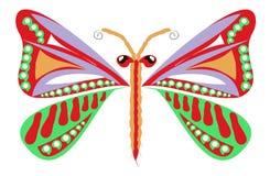 Entregue a borboleta colorida decorativa tirada para a página e a cópia colorindo Imagem de Stock Royalty Free