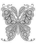 Entregue a borboleta mágica tirada para a anti página adulta da coloração do esforço Fotografia de Stock Royalty Free