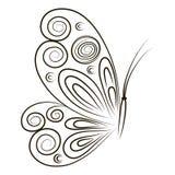 Entregue a borboleta tirada da ilustração do vetor no fundo branco Esboço para a tatuagem Contorno preto para colorir Foto de Stock Royalty Free