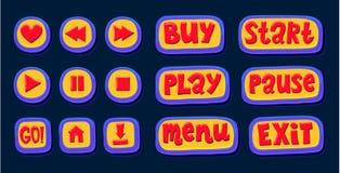 Entregue botões tirados da Web 3d para o jogador Como, a rebobinação, jogo, pausa, para cor ajustada do botão do Internet ilustração do vetor