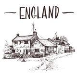 Entregue a casa de campo inglesa tirada, esboço urbano do condomínio Ilustração de livro desenhado à mão, cartão turístico ou mol Fotografia de Stock