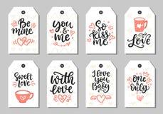 Entregue a coleção tirada do dia de Valentim com rotulação da escova Foto de Stock