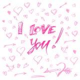 Entregue corações e a ilustração tirados do vetor das letras eu te amo Imagens de Stock Royalty Free