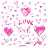 Entregue corações tirados e o grupo grande das letras eu te amo no fundo branco Fotografia de Stock