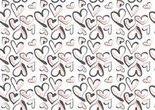 Entregue corações tirados no cinza cor-de-rosa e escuro Imagens de Stock Royalty Free