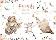 Entregue a coruja da aquarela, o rato e animais tirados da dança do pássaro Ilustrações da decoração do berçário de Boho, arte na Imagem de Stock Royalty Free