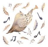 Entregue a coruja da aquarela, o rato e animais tirados da dança do pássaro Ilustrações da decoração do berçário de Boho, arte na Fotografia de Stock Royalty Free