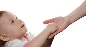 Entregue a criança nas mãos da matriz Imagens de Stock Royalty Free